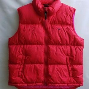 Tommy Jeans Vest/Down Womens Sz XL -RED -Pink